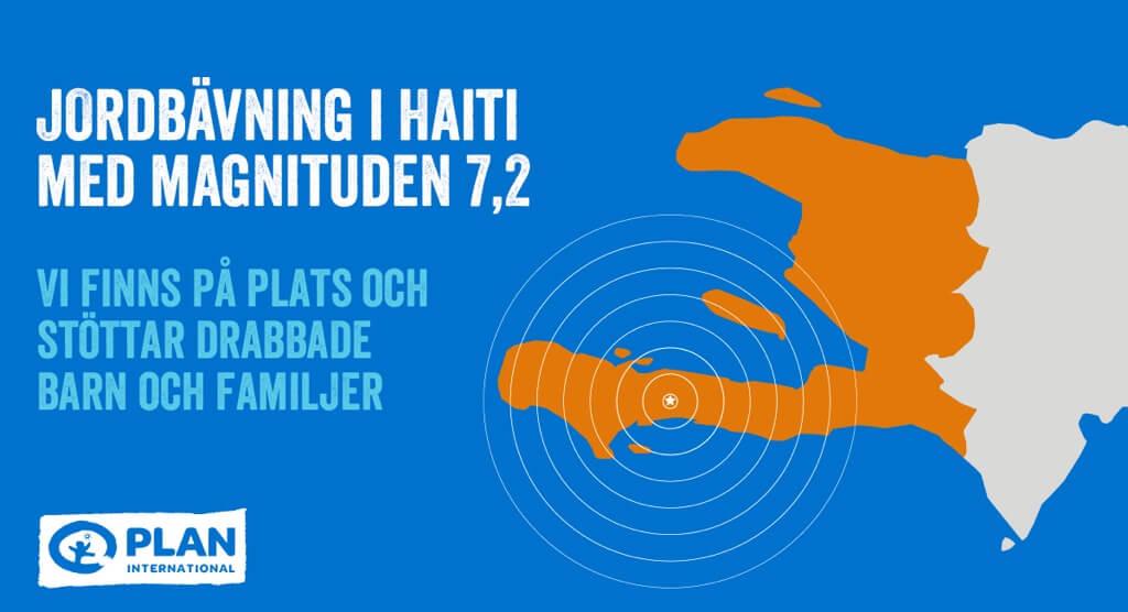 Karta över Haiti som visar var jordbävningen ägde rum 2021