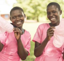 Girls with sanitary pads in Uganda