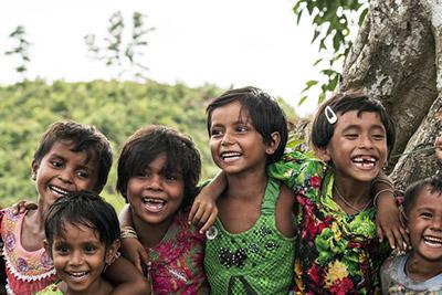 Barn i Bangladesh på flykt från Myanmar